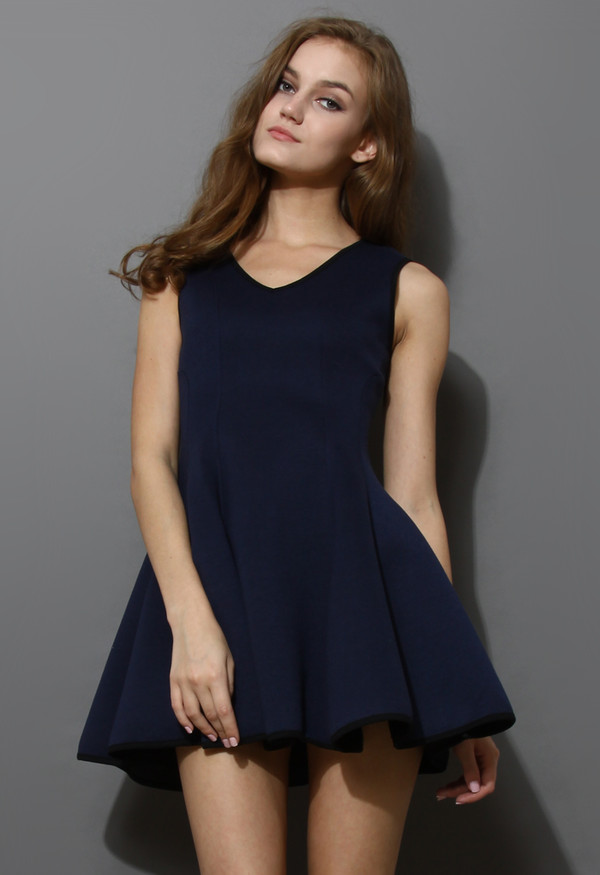 dress v neck skater navy