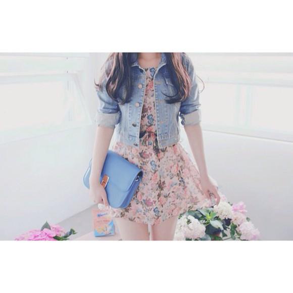 dress blue dress flowers summer dress