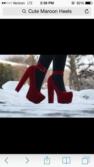 shoes heels burgundy