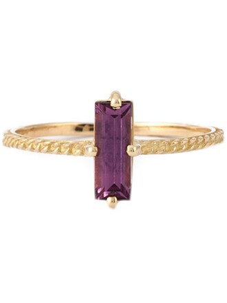 women ring purple pink jewels