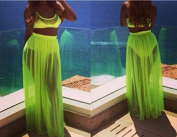dress two-piece swimwear two peice cute sexy green chiffon skirt long skirt swimwear yellow bikini
