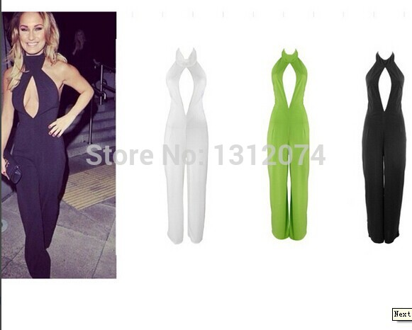 Aliexpress.com : Buy 2014 new summer black white side slit asymmetric cut plunge sexy bandage party jumpsuitsOM109 from Reliable dress fork suppliers on trending collection