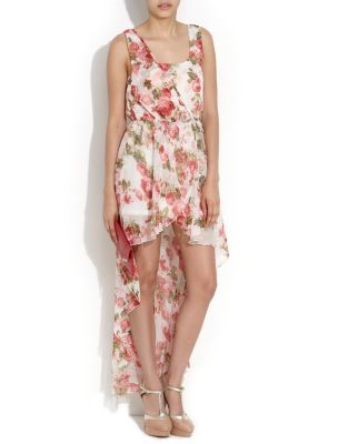 Parisian White Floral Dipped Hem Chiffon Maxi Dress