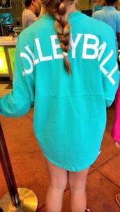 jacket,sportswear,volleyball,volleyball long sleeve shirt,turquoise,shirt,volleybal long sleeve spirit jersey