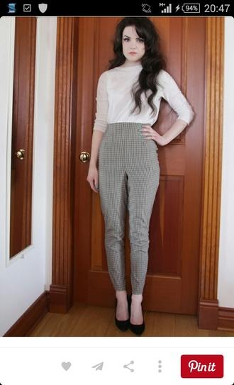 pants grey pants high waisted pants checkered pants straight leg