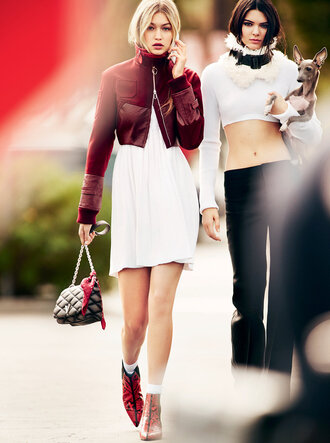 jacket burgundy white dress editorial gigi hadid kendall jenner