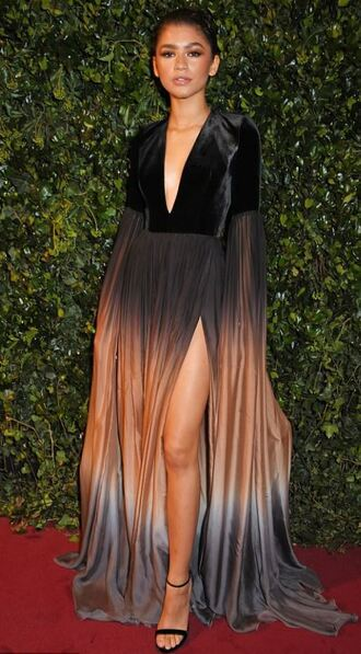 dress ombre dress zendaya gown red carpet dress slit dress sandals plunge dress shoes