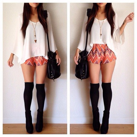 necklace blouse tribal pattern socks boots bag shoes
