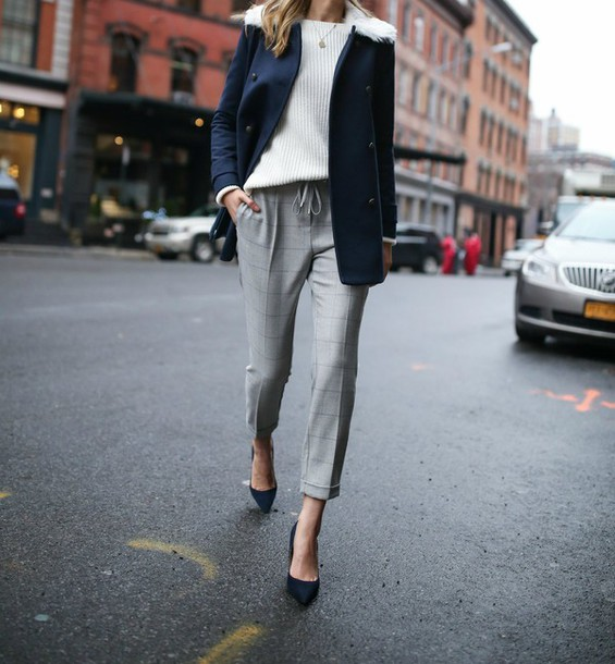 Pants tumblr grey pants work outfits office outfits winter work outfit cropped pants ...