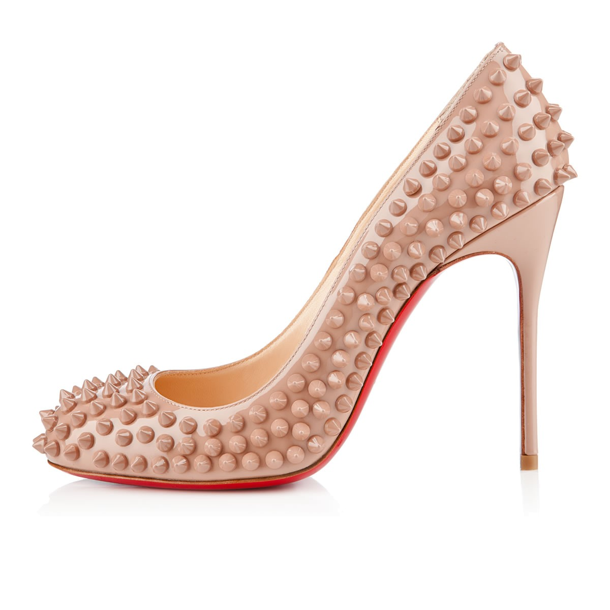 Fifi spikes patent 100 mm, patent leather, nude/nude, women shoes