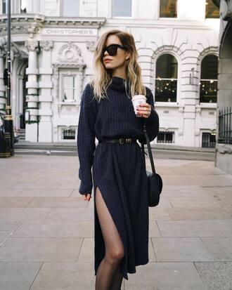 dress tumblr midi dress slit dress knit knitwear knitted sweater knitted dress belt sunglasses long sleeves long sleeve dress