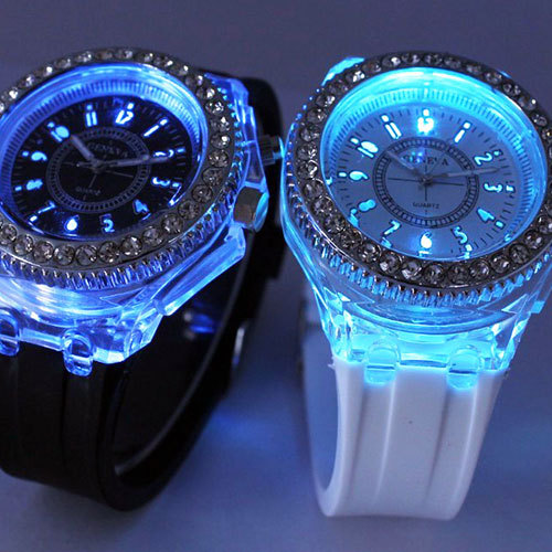 [grxjy51500019]Colorful Led Light Luminous Wrist Quartz Watch Studded with Rhinestones