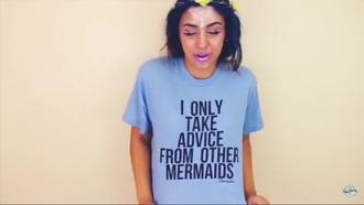 shirt mermaid grunge t-shirt grunge t-shirt blue funny cool chill