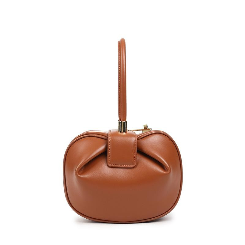 Brown Unique Leather Handbags Cute Purse with Metal Lock