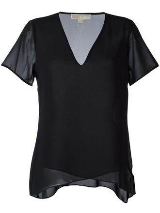 t-shirt shirt women v neck black top