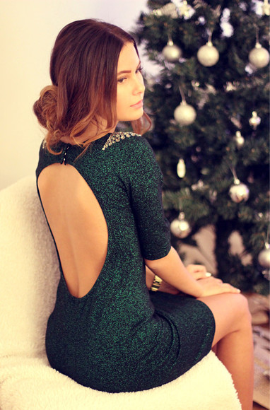 green dark green new year's eve dress backless dress