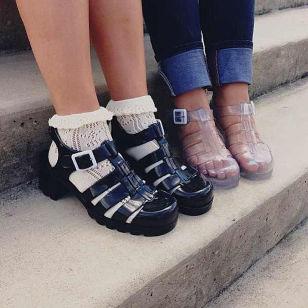 shoes jellies white socks girl tumblr fashion underwear socks and sandals jellies