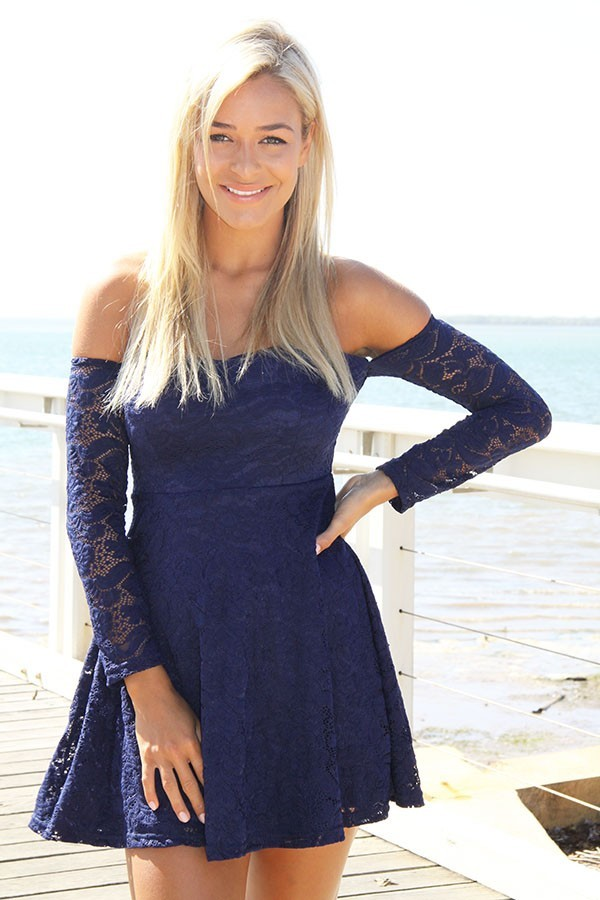 be10a12123 Shoppable tips. Best tips. advertising.  65. Not mentioned. ustrendy.com.  Navy Lace Off the Shoulder Skater Dress