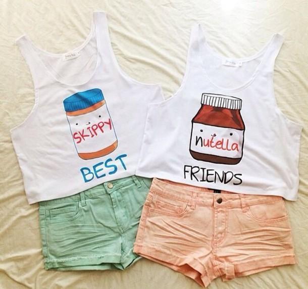 Top nutella best friends t shirt bff peanut butter for Peanut butter t shirt dress