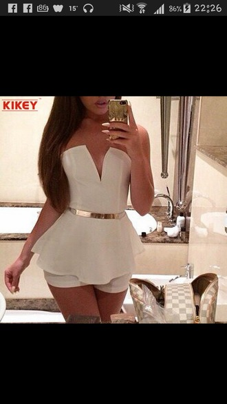 dress romper white glamour chic
