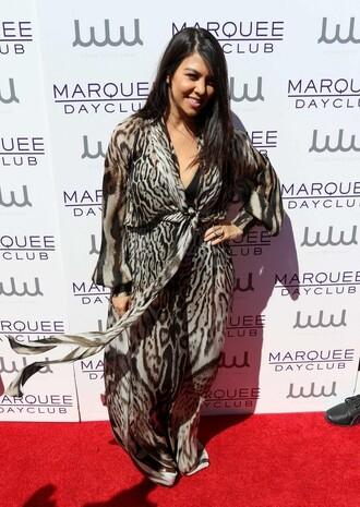 dress wrap dress kourtney kardashian animal print leopard print maxi dress summer dress
