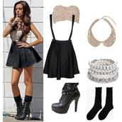 jewels,cher lloyd,peter pan collar,necklace,black,skirt,cher lloyd outfit,black skirt,black skater skirt,dress