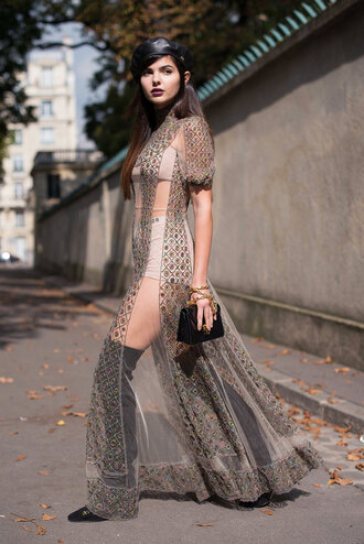 dress see through underwear panties boots sheer streetstyle paris fashion week 2017