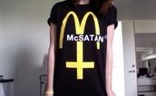 t-shirt,shirt,mcsatan,satan,colorful,brand,black,yellow,white,cool,grunge,grunge t-shirt,mcdonalds,mcdonalds logo,funny,top