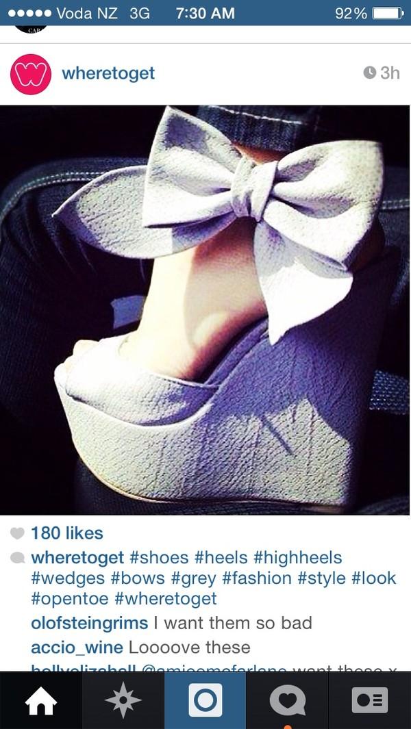 Cool Show Elegant Bowtie Peep Toe Wedge Heel Sandals
