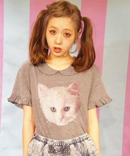 {free ship} harajuku cat face falbala top, dolly cat print t