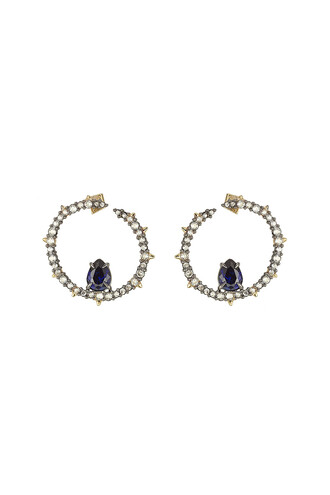 earrings hoop earrings blue jewels