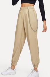 pants,girly,girl,girly wishlist,trendy,cargo khaki pants,nude dress,chain,chain pants,joggers,joggers pants