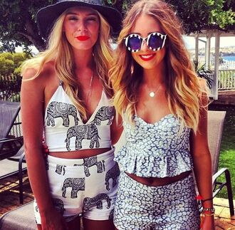 top matching crop top and shorts elephant