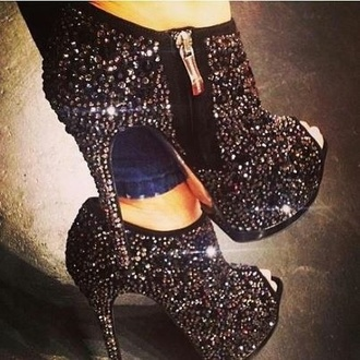 shoes sparkle black crystal booties glitter high heels pinterest heels diamonds