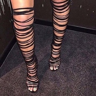shoes heels cute strappy thigh highs girly black dress sexy