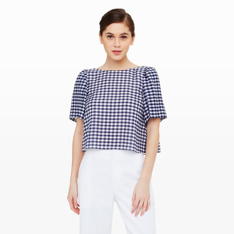 top gingham top gingham backless crop tops