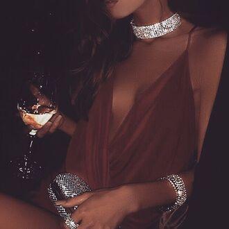 jewels choker necklace diamond choker bra fashion diamonds diamond necklace