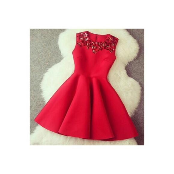 red dress christmas dress glitter dress