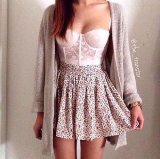 skirt floral skirt floral tumblr outfit