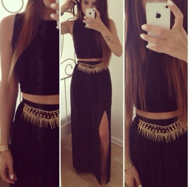 Skirt: gold, black, black dress, black maxi, crop, belt - Wheretoget