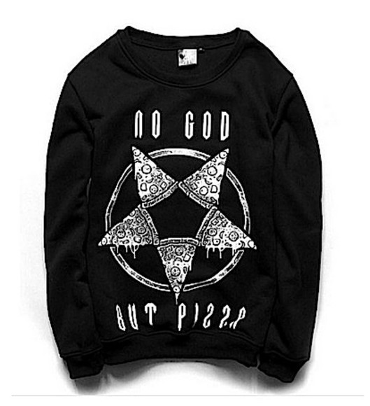 star cute punk sweater no god but pizza pizza pentagram goth