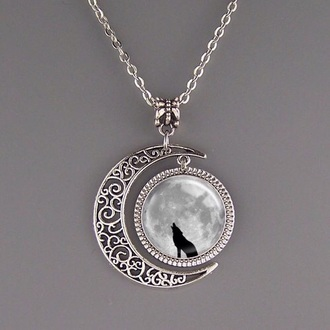 jewels silver necklace wolf