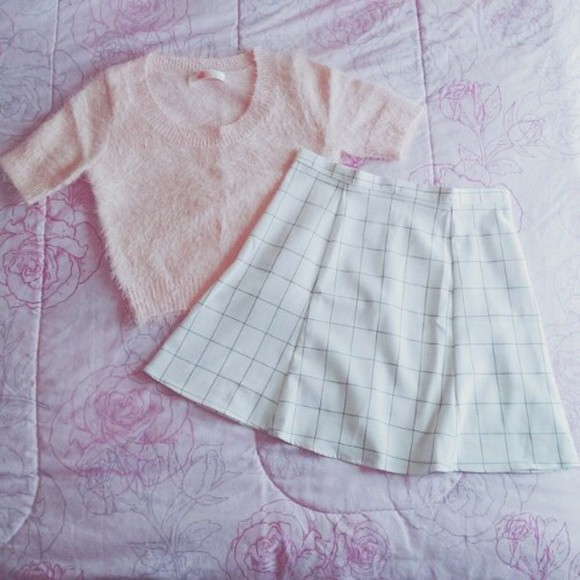 pullover top fuzzy fuzzy sweater pastel skirt grid circle skirt pastel pink