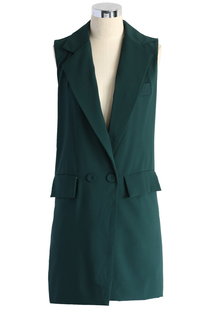 Sleeveless Longline Blazer in Green - Retro, Indie and Unique Fashion