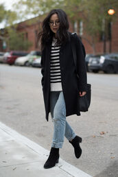 the fancy pants report,blogger,coat,sweater,jeans,shoes,shoulder bag,black coat,striped sweater,winter outfits,fall outfits,ankle boots,striped turtleneck sweater