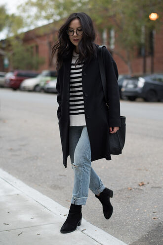 the fancy pants report blogger coat sweater jeans shoes shoulder bag black coat striped sweater winter outfits fall outfits ankle boots striped turtleneck sweater