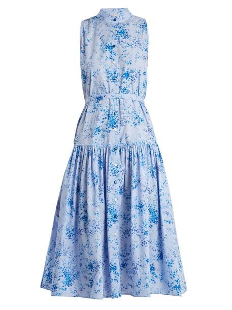 Carolina Herrera dress floral print gingham blue