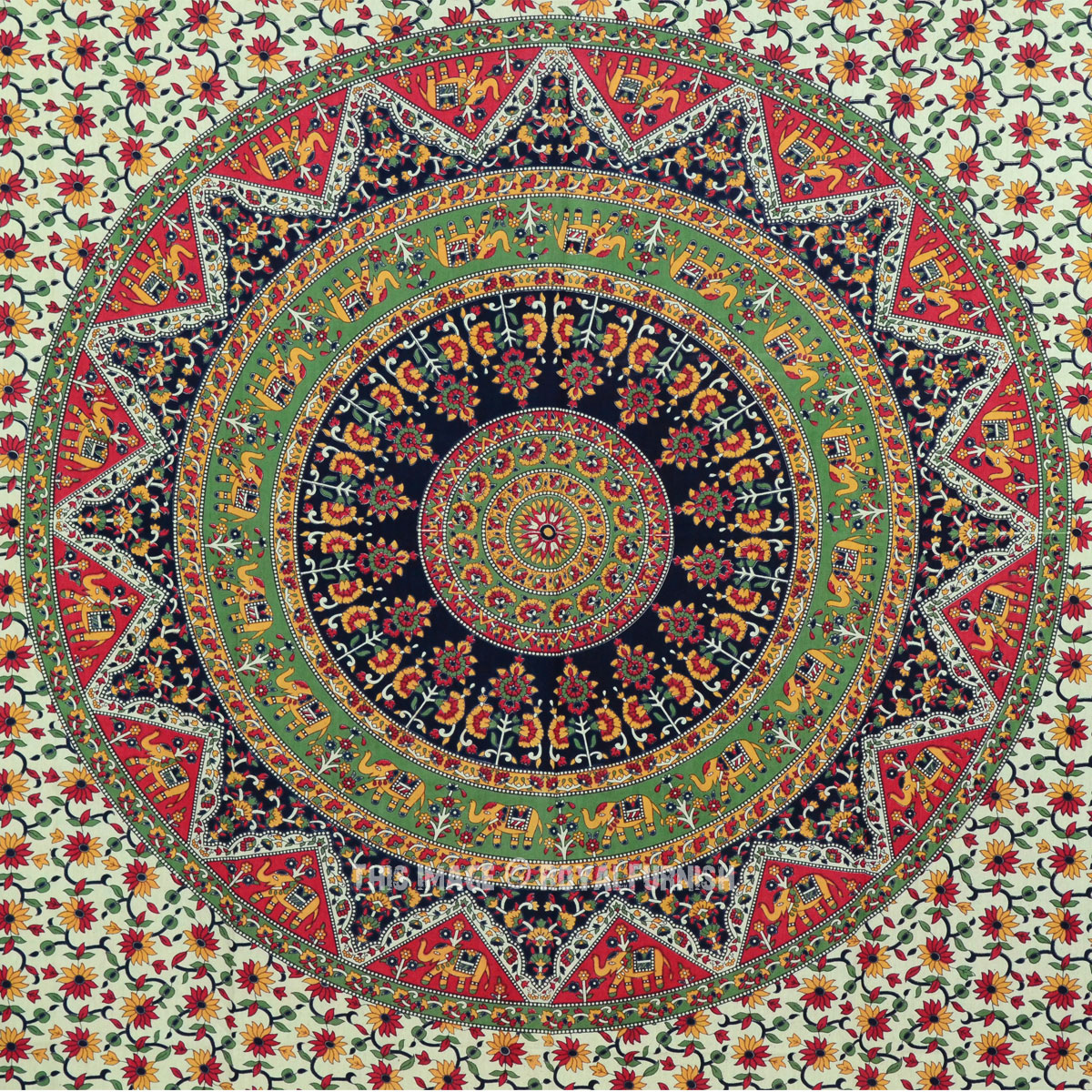 Twin Size Multicolor Bohemian Mandala Cloth Fabric Throw