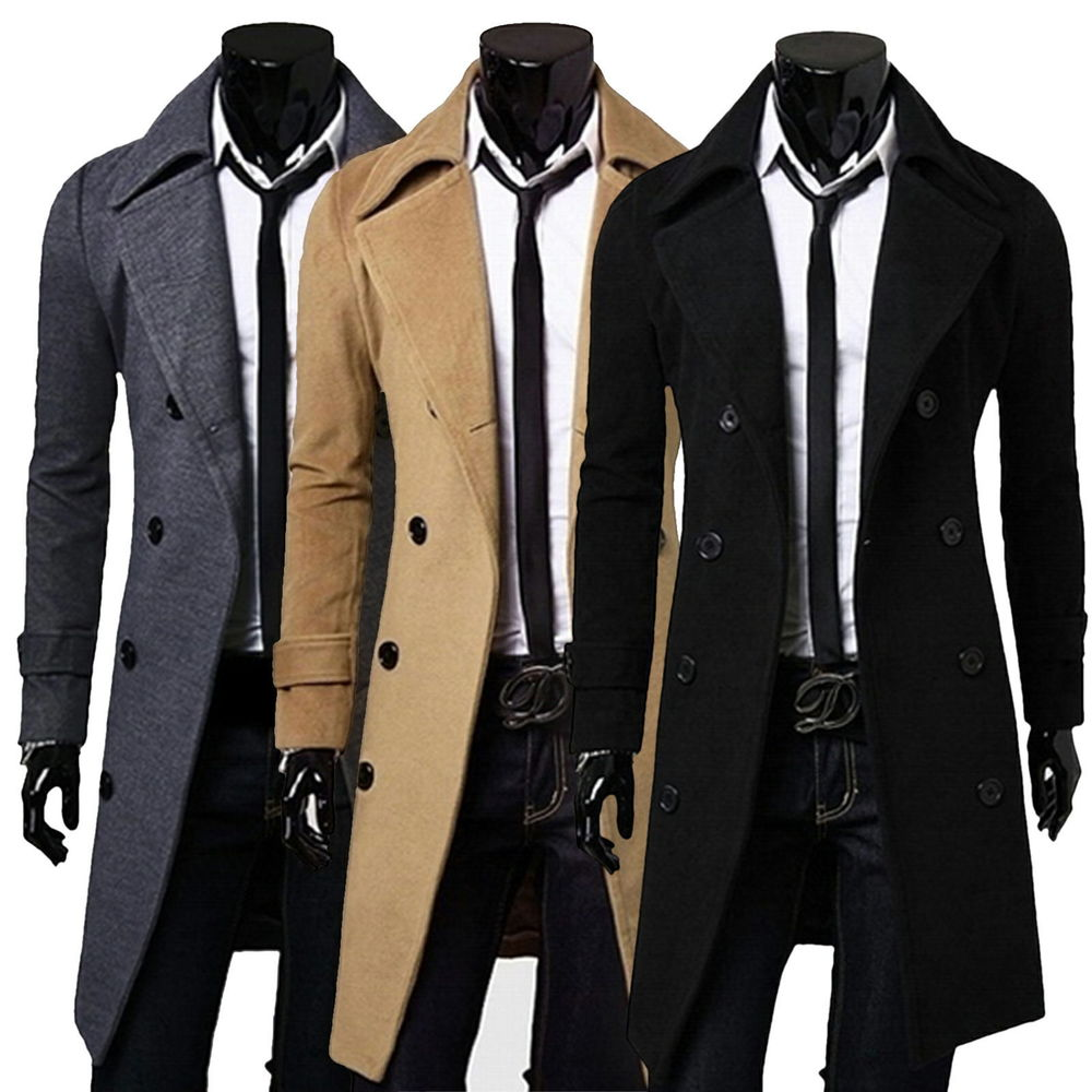 new men 39 s slim stylish trench coat winter long jacket double breasted overcoats. Black Bedroom Furniture Sets. Home Design Ideas