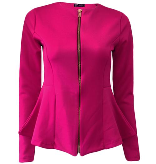 Amy | Mint Peplum Zip Front Blazer